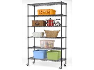 BestMassage 6-Shelf Commercial Steel Wire Shelving Rack w/ Wheels - Black