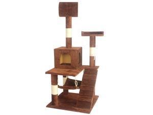 "Brown 55"" Cat Tree Tower Condo Scratcher Furniture Kitten House Hammock 90"