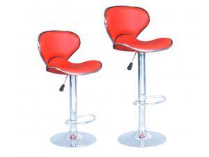 Red Modern Adjustable Synthetic Leather Swivel Bar Stools Chairs B03-Sets of 2