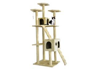 "Beige 73"" Cat Tree Scratcher Play House Condo Furniture Bed Post Pet House"