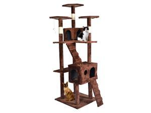 "BestPet 73"" Cat Tree Scratcher Play House Condo Furniture Bed Post Pet House CT-T07-Brown"