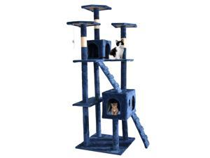 "Navy Blue 73"" Cat Tree Scratcher Play House Condo Furniture Post Pet House"
