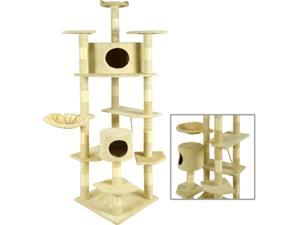 "New BestPet Beige 80"" Cat Tree Condo Furniture Scratching Post Pet Cat Kitten House"