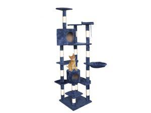 "New Cat Tree 80""Navy Blue Condo Furniture Scratching Post Pet Cat Kitten House"