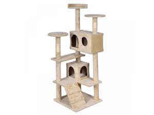 BestPet Beige Cat Tree Tower Condo Furniture Scratch Post Kitty Pet House