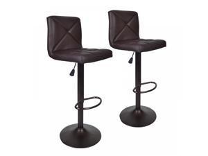 Brown 2 PU Leather Modern Adjustable Swivel Barstools Hydraulic Chair Bar Stools