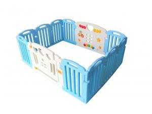Blue Baby Playpen Kids 14 Panel Safety Play Center Yard Home Indoor Outdoor Pen