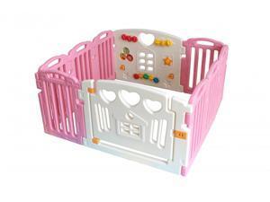 Pink Baby Playpen Kids 10 Panel Safety Play Center Yard Home Indoor Outdoor Pen