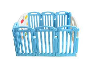 Blue Baby Playpen Kids 10 Panel Safety Play Center Yard Home Indoor Outdoor Pen