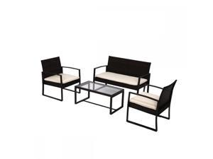 4 PCS Outdoor Patio Sofa Set Sectional Furniture PE Wicker Rattan Deck Couch