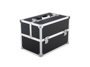 "Black 14""x9""x10""Aluminum Makeup Train Case Jewelry Box Cosmetic Organizer"