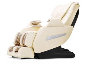 BestMassage Full Body Zero Gravity Shiatsu Massage Chair Recliner w/Heat and Long Rail - Cream