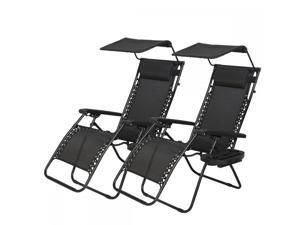 New 2 PCS Black Zero Gravity Chair Lounge Patio Chairs with canopy Cup Holder H074