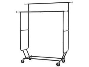 Black Commercial Grade Collapsible Clothing Rolling Double Garment Rack Hanger R02D