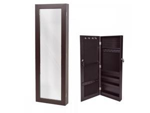 Brown Mirrored Jewelry Cabinet Armoire Organizer Storage Wall Mount TY39