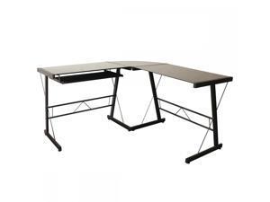 BestMassage L128 L Shape Corner Computer Desk Glass Laptop Table  Workstation Home ...