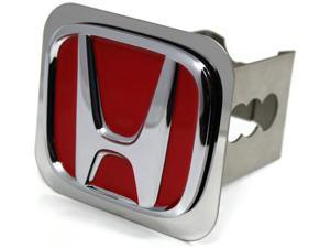 "Red JDM Honda Logo Hitch Cover 2"" Hitch Receivers Plug Stainless Steel Type R"
