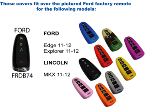 Black Silicone Key Fob Cover Case Smart Remote Pouches Protection Key Chain Fits: Ford Edge 11-12
