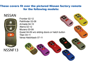 Red Silicone Key Fob Cover Case Smart Remote Pouches Protection Key Chain Fits: Nissan Armada 04-10