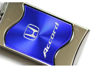 Honda Accord Rectangular Wave Blue Key Fob Authentic Logo Key Chain Key Ring Keychain Lanyard KC3075.ACC.BLU
