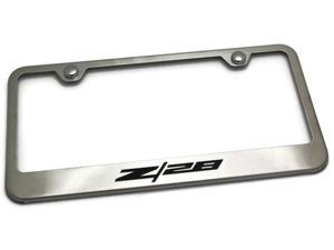 Chevrolet Camaro License Plate Frame Laser Etched Stainless Steel Standard Satin LF.Z28.ES