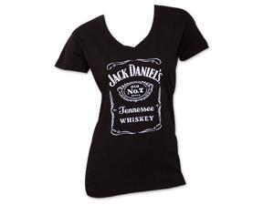 Jack Daniel's Women's V-Neck TShirt - Black
