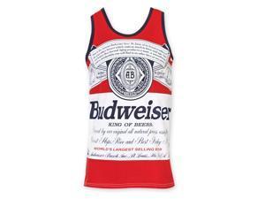 Budweiser Men's Red Bottle Label Tank Top