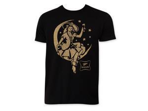 Miller High Life Men's Black Girl In Moon T-Shirt