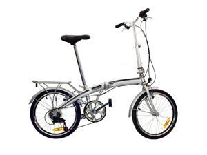 "Folding Bike 20"" Shimano 6 Speed Silver Storage Bike - Silver"