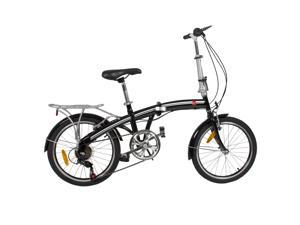 "BestChoiceProducts SKY411 20"" Shimano 6 Speed Folding Storage Bicycle - Black"