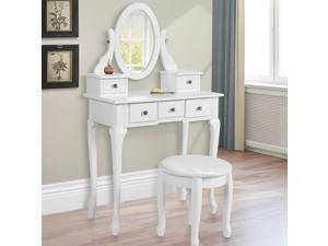 Vanity Table Jewelry Makeup Desk Bench Drawer White Solid Wood Construction New