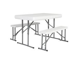 Best Choice Products Folding Table & Benches Portable Indoor Outdoor Picnic Party Dining Kitchen
