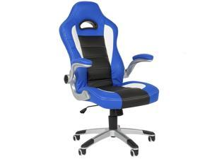 Executive Office Chair PU Leather Racing Style Bucket Desk Seat Chair Blue