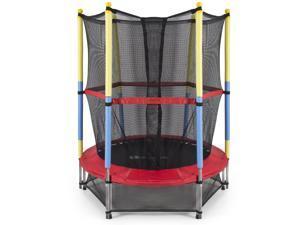 "54"" Round Kids Mini Trampoline w/ Enclosure Net Pad Rebounder Indoor Exercise"