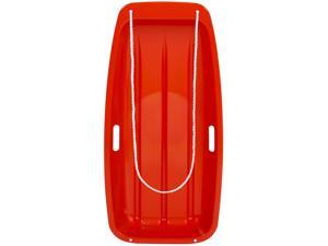 Kids Snow Sled Toboggan Boat Sledge W/ Rope, Handles Outdoor Sport- Red