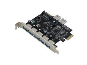 Sedna PCIE 7 Ports USB 3.0 Adapter Card with SATA Power Connector