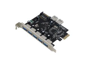 Sedna - PCIE 7 Port USB 3.0 Adapter Card with SATA Power Connector , Support Win 8 UASP ( NEC Host controller )