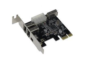 SEDNA - PCIe ( PCI EXpress ) 3+1 Ports 1394A ( Firewire ) Adapter card ( VIA ) ( 3E1I,  2x 6 Pin + 1 x 4 Pin external port ) with low profile bracket
