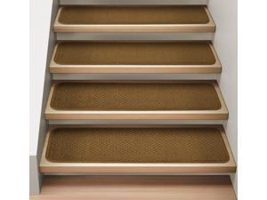Set of 12 Attachable Indoor Carpet Stair Treads - Bronze Gold - 8 In. X 30 In.