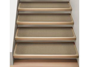 Set of 12 Attachable Indoor Carpet Stair Treads - Camel Tan - 8 In. X 23.5 In.