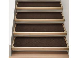 Set of 15 Attachable Indoor Carpet Stair Treads - Chocolate Brown - 8 In. X 27 In.