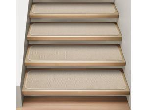 Set of 15 Attachable Indoor Carpet Stair Treads - Ivory Cream - 8 In. X 23.5 In.