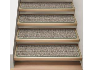 Set of 15 Attachable Indoor Carpet Stair Treads - Pistachio Green  - 8 In. X 23.5 In.