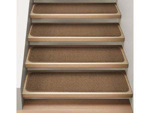Set of 12 Attachable Indoor Carpet Stair Treads - Toffee Brown - 8 In. X 23.5 In.