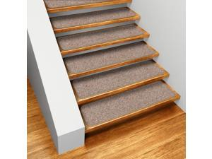 Set of 15 Skid-resistant Carpet Stair Treads - Pebble Beige - 8 In. X 30 In.