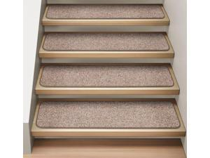 Set of 12 Attachable Indoor Carpet Stair Treads - Pebble Beige  - 8 In. X 27 In.
