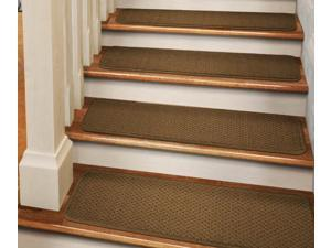 Set of 12 Tape-Down Carpet Stair Treads - Bronze Gold - 9 In. X 36 In.