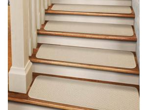 Set of 12 Tape-Down Carpet Stair Treads - Ivory Cream - 8 In. X 30 In.