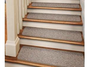 Set of 15 Tape-Down Carpet Stair Treads - Pebble Beige - 8 In. X 23.5 In.