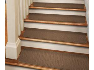 Set of 12 Tape-Down Carpet Stair Treads - Toffee Brown - 8 In. X 27 In.